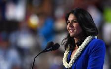 FILE: In this photo, US Representative Tulsi Gabbard speaks during Day 2 of the Democratic National Convention at the Wells Fargo Center in Philadelphia, Pennsylvania, 26 July 2016. Picture: AFP