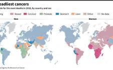 Types of cancer responsible for the most deaths by country and sex, according to the World Health Organization.
