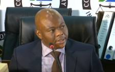 A YouTube screengrab of Edwin Sodi, a director of Blackhead Consulting, testifying before the state capture commission in Johannesburg on 29 September 2020.