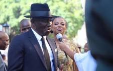 Police Minister Bheki Cele and his wife Thembeka Ngcobo on the red carpet outside Parliament for the 2020 State of the Nation Address. Picture: Kayleen Morgan/EWN
