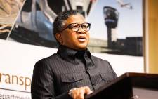 FILE: Transport Minister Fikile Mbalula unveils taxi relief support and economic stimulus for transport entities. Picture: Twitter/@EsethuOnDuty