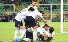 Italy players celebrate a goal during their 9-1 victory over Armenia on 18 November 2019. Picture: @UEFAEURO/Twitter