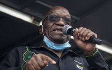Former South African president Jacob Zuma addresses his supporters in front of his rural home in Nkandla on 4 July 2021 for the first time since he was given a 15-month sentence for contempt of court. Picture: Emmanuel Croset / AFP