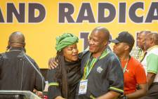 FILE: Jackson Mthembu hugs Baleka Mbete ahead of the announcement of the ANC's new top 6 on 18 December 2017. Picture: Thomas Holder/EWN .