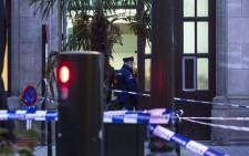 Police crime scene tape outside the police station at the Kolenmarkt on Rue du Charbon, near the Grand-Place in Brussels, after a man attacked police officers with a knife, early on 20 November 2018. Picture: AFP