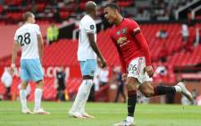 Manchester United striker Mason Greenwood celebrates after scoring the equalising goal during the English Premier League football match between Manchester United and West Ham United at Old Trafford in Manchester, north west England, on 22 July 2020. Picture: AFP