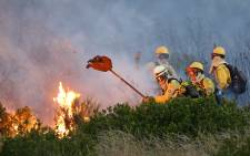 Members of the Volunteer Wildfire Services battle flames on the lower slopes of Signal Hill above Fresnaye on 2 December 2014. Picture: Aletta Gardner/EWN