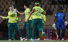 Proteas players celebrate beating Sri Lanka during their ICC Women's World Twenty20 match. Picture: @OfficialCSA/Twitter