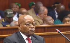 A screengrab of former President Jacob Zuma in the Durban High Court on 6 April 2018.