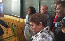 President Jacob Zuma greets learners at the Marhulana Primary School in Tembisa. Picture: Clement Manyathela/EWN.