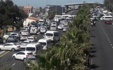 Taxis block traffic on Nelson Mandela Boulevard at Searle Street in Cape Town on 18 October 2019. Picture: City of Cape Town