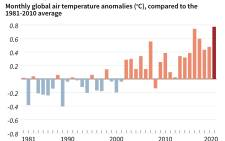 A chart showing January global air temperature anomalies, compared to the 1981-2010 average. Picture: AFP