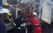 FILE: EMS are still trying to free the trapped train driver at Denver station. Picture: @MedixGauteng