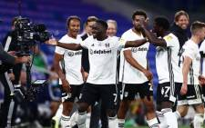 Fulham's Neeskens Kebano celebrates his goal against Cardiff City in their first leg Championship playoff semifinal on 27 July 2020. Picture: @FulhamFC/Twitter