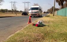 Flowers at the scene of a shooting in Brackenhurst, south of Johannesburg after a father killed his two teenage daughters. Picture: Jacob Moshokoa/EWN