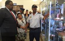 Captain Henry Jones, commander of the museum, giving the ministers a tour of the new Saps museum on 23 March 2016. Picture: Monique Mortlock/EWN