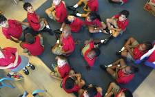 Grade ones inside their classroom at the Sea Point Primary School. Picture: Thomas Holder/EWN