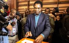 Opposition candidate Hakainde Hichilema, of the United Party for National Development (UPND) party, casts his ballot on 20 January, 2015 in Lusaka. Picture: AFP.