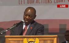 Deputy President Cyril Ramaphosa commemorates World Aids Day in Mthatha on 1 December 2017 Picture: Screengrab