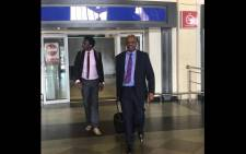 Dali Mpofu (right) and Tembeka Ngcukaitobi were seen arriving at Robert Gabriel Mugabe International Airport ahead of Wednesday's court case. Picture: Twitter/@MDCAllianceZW