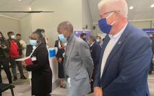 Health Minister Zweli Mkhize (C) with WC Premier Alan Winde (R) during a vaccine rollout facility inspection on Monday, 19 April 2021. Picture: Zweli Mkhize/ Twitter