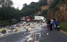 A truck accident on Christiaan de Wet Road near Clearwater Mall in Roodepoort on 10 February 2020. Picture: Suburban Control Centre/Facebook