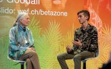 South African photographer Skye Meaker speaks to renowned conservationist Jane Goodall at the 2019 World Economic Forum in Davos. Picture: World Economic Forum