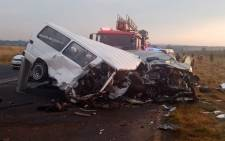 Eleven people were killed, including three children, and several injured following a collision between a taxi and light motor vehicle on the R553 Golden Highway in Eldorado Park on 11 March 2020. Picture: @ER24EMS/Twitter.