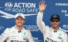 FILE: Mercedes team mates Nico Roseberg and Lewis Hamilton. Picture: @MercedesAMGF1.