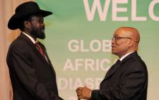 FILE: President Jacob Zuma (right) welcomes South Sudan President Salva Kiir to the Global African Diaspora Summit. Picture: GCIS.