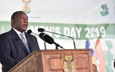 President Cyril Ramaphosa addressed the national Women's Day event in Vryburg, North West. Picture: @Presidency/Twitter.