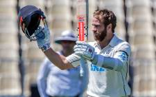 New Zealand's captain Kane Williamson celebrates reaching his double century (200 runs) during the second day of the first Test cricket match between New Zealand and West Indies at Seddon Park in Hamilton on 4 December 2020. Picture: AFP