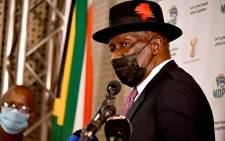 Police Minister Bheki Cele at a media briefing on 25 October 2021. Picture: GCIS.