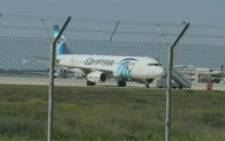 FILE: An EgyptAir Airbus A320 on the tarmac of Larnaca International Airport after it was hijacked and diverted to Cyprus. Picture: Screengrab/CNN