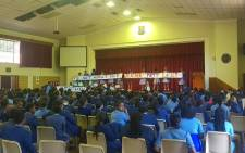 Some learners at the school protested during assembly on Wednesday morning in support of the teacher. Picture: Supplied by WCED