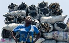 Prudence Mkonyo, a charcoal vendor in Zimbabwe, stands beside 50-kilogram polythene bags full of charcoal piled on top of each other as she sells her wares at Mbare Musika Market in Harare in November 2019. Picture: AFP