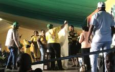 The Women's League presented an ANC branded blanket to President Jacob Zuma as a gift, thanking him for his bravery in this difficult time. Picture: Clement Manyathela/EWN.