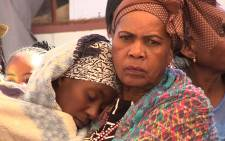 Family members battle to contain their emotions at the funeral of three schoolgirls who died of suspected poisoning at the Emma Primary School in Winterveldt last week. Picture: Vumani Mkhize/EWN.