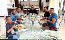 Communications Minister Stella Ndabeni-Abrahams (in black T-shirt) seen having lunch with Mduduzi Manana (centre) at his residence in Fourways while the country is under COVID-19 lockdown. Picture: Instagram
