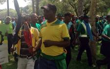 Mineworkers and Construction Union (Amcu) members during a wage dispute strike. Picture: Mia Lindique/EWN.