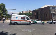 Ambulances and police vehicles arriving at the scene outside Iranian parliament in the capital Tehran on 7 June 2017 during an attack on the complex. Picture: AFP