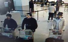 A picture released on 22 March, 2016 by the belgian federal police on demand of the Federal prosecutor shows a screengrab of the airport CCTV camera showing suspects of the attacks at Brussels Airport, in Zaventem. Picture: AFP.