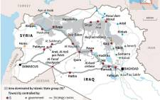 Updated map of Syria and Iraq, showing areas controlled by Islamic State jihadists.