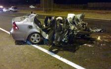 The fatal car crash on the R21 on 8 July 2012. Picture: ER24