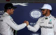 A screengrab of Mercedes' Nico Rosberg of Germany (left) and Mercedes' Lewis Hamilton of Britain. Picture: Twitter/@SkySportsF1.