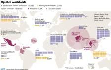 Graphic on heroin and opium use worldwide.
