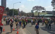 The crowd in the Unite Against Corruption march making its way up Madiba street towards the Union Buildings. Picture: Govan Whittles/EWN.