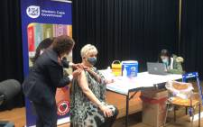 Tannie Evita Bezuidenhout gets her COVID-19 vaccine at the Wesbank Community Hall on 1 June 2021 during a ceremony marking the opening of the first public vaccination site in the Swartland sub-district. Picture: Lizell Persens/Eyewitness News