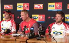 FILE: Lions coach Johan Ackermann flanked by Cobus Grobbelaar and JC Janse van Rensburg on 19 October 2012. Picture: Marc Lewis/EWN