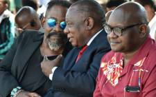 President Cyril Ramaphosa with Gauteng Premier Daivd Makhura, Ekurhuleni Executive Mayor Mzwandile Masina and the son of Oliver & Adelaide #Tambo, Dali Tambo during the annual OR Tambo commemoration ceremony at Tamboville, Wattville in the City of Ekurhuleni. Picture:  Twitter/Presidency